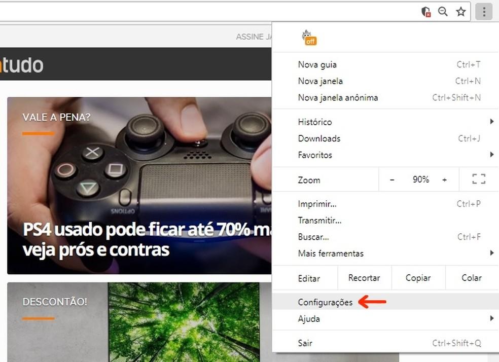 Check the Google Chrome settings Photo: Reproduo / Raquel Freire