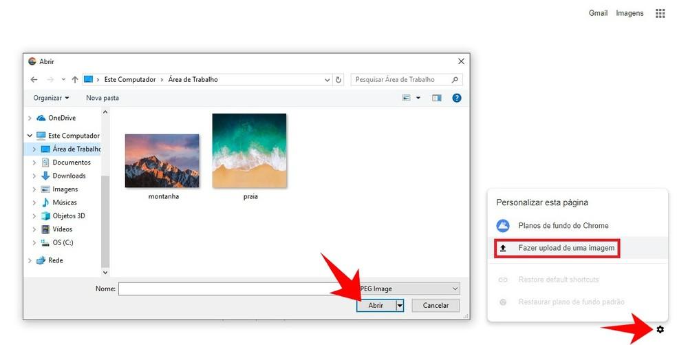 Selecting a computer photo to use as Google Chrome wallpaper Photo: Reproduo / Rodrigo Fernandes