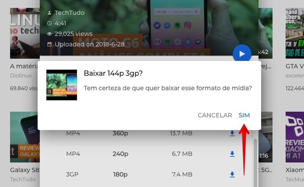 Confirm the file download on Videoder Foto: Reproduo / Helito Bijora