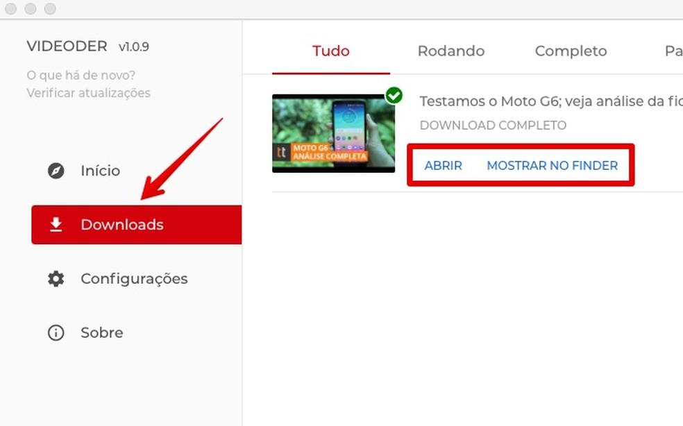List of downloaded videos Photo: Reproduo / Helito Bijora