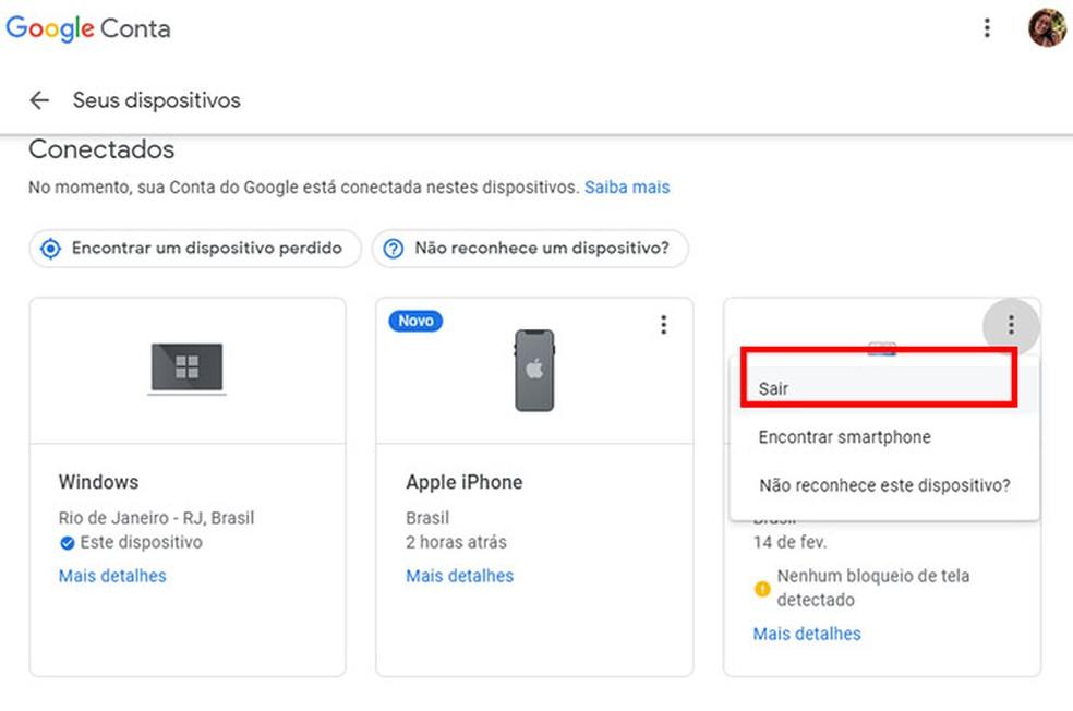 Disconnect the Google Account on the PC Photo: Reproduo / Tatiane Mota