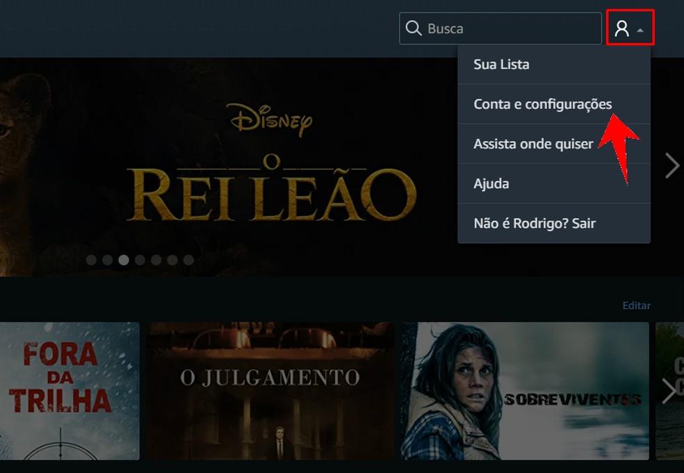 Accessing the Amazon Prime Video settings on the PC Photo: Reproduo / Rodrigo Fernandes