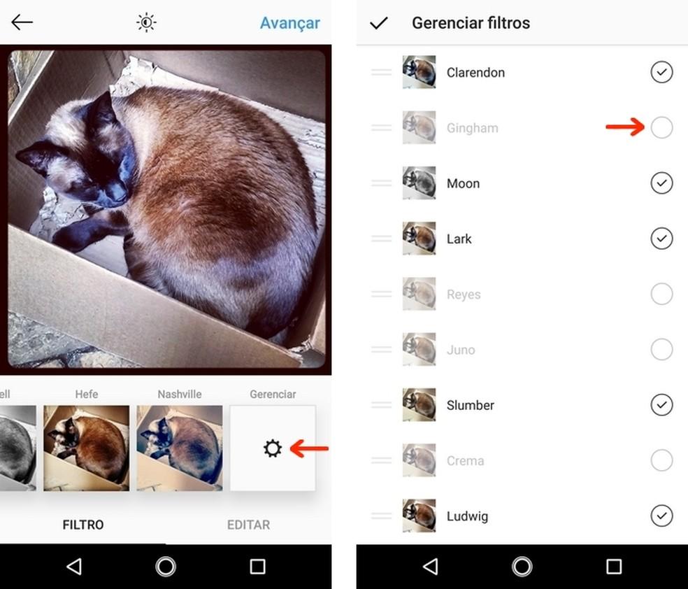 Instagram filter management menu enables other alternatives Foto: Reproduo / Raquel Freire