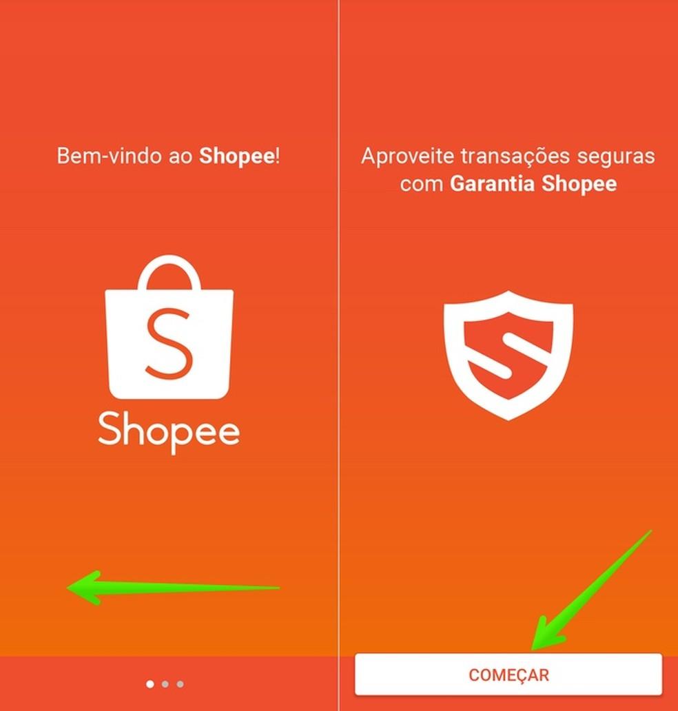 Shopee app introduction screens Foto: Reproduo / Helito Beggiora