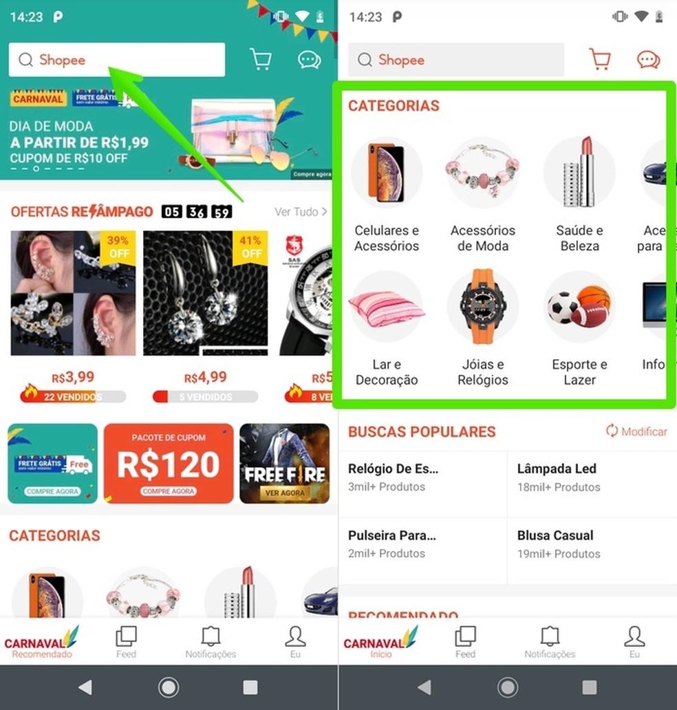 Shopee app home page Foto: Reproduo / Helito Beggiora
