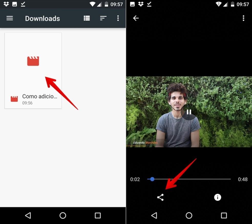 Share the downloaded video Photo: Reproduo / Helito Bijora