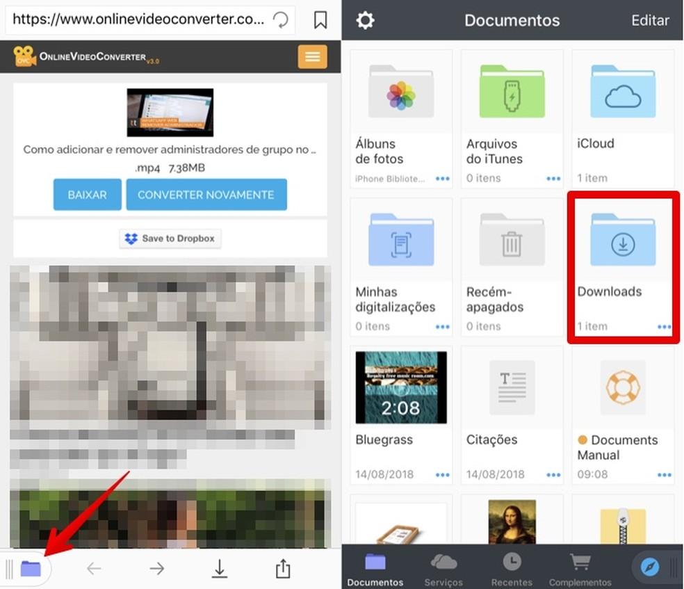 Access the downloads folder Photo: Reproduo / Helito Bijora