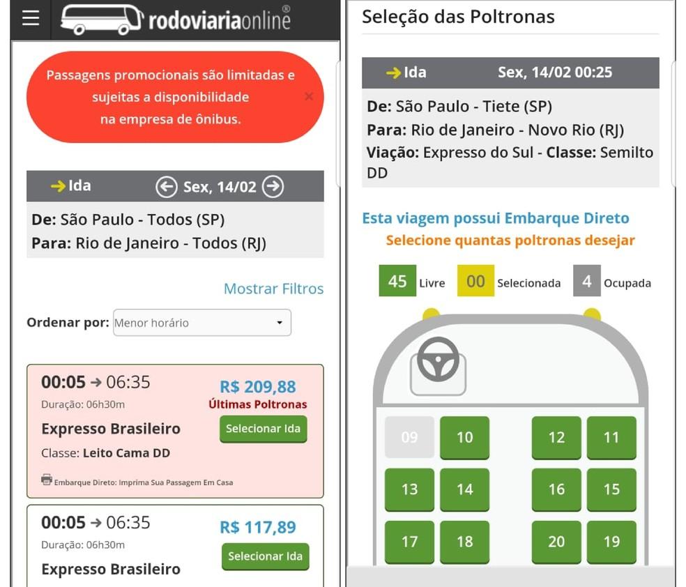 Rodoviria Online allows you to buy bus tickets to Rio de Janeiro Photo: Reproduo / Emanuel Reis