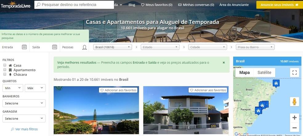 Brazilian website Temporada Livre offers houses for seasonal rent in several countries Photo: Reproduo / Temporada Livre