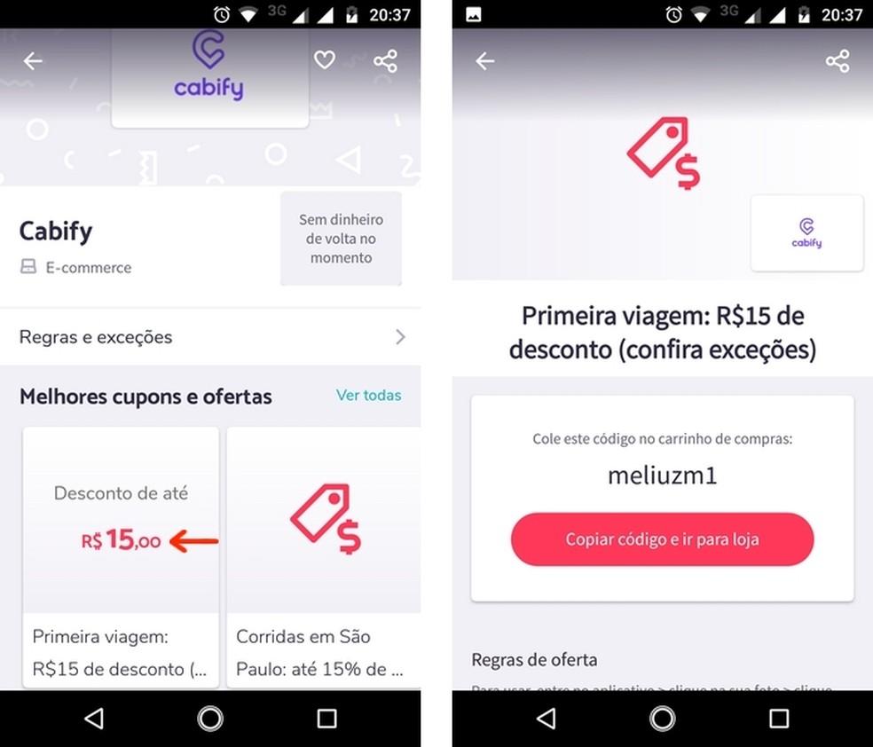 Discount coupon for the Cabify app found on Mliuz Photo: Reproduo / Raquel Freire