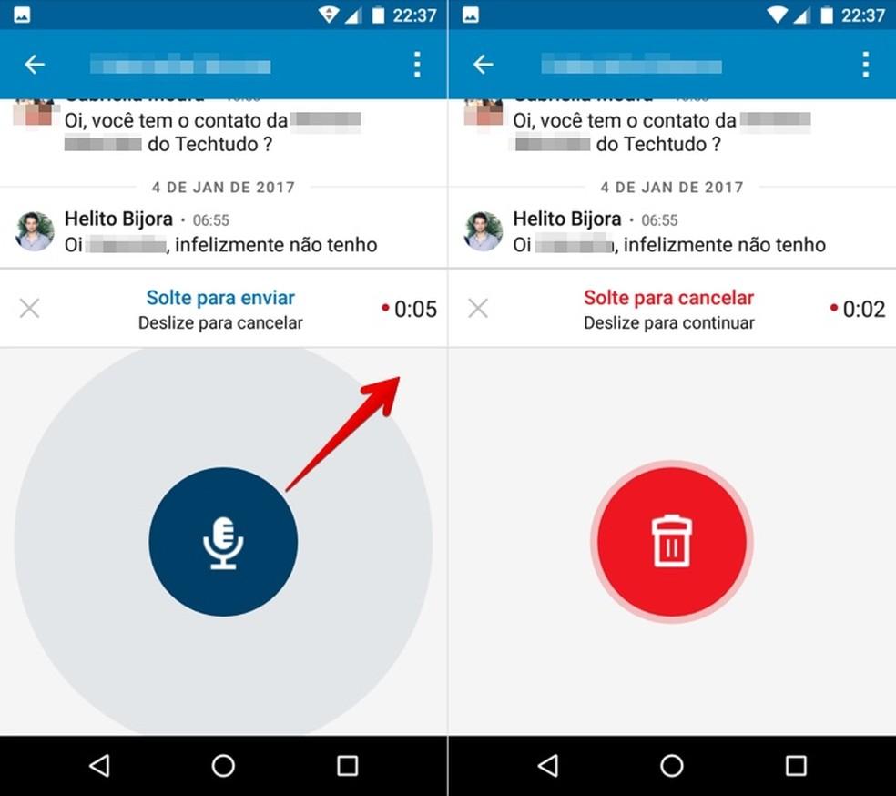 Canceling the recording of a voice message Photo: Reproduo / Helito Bijora