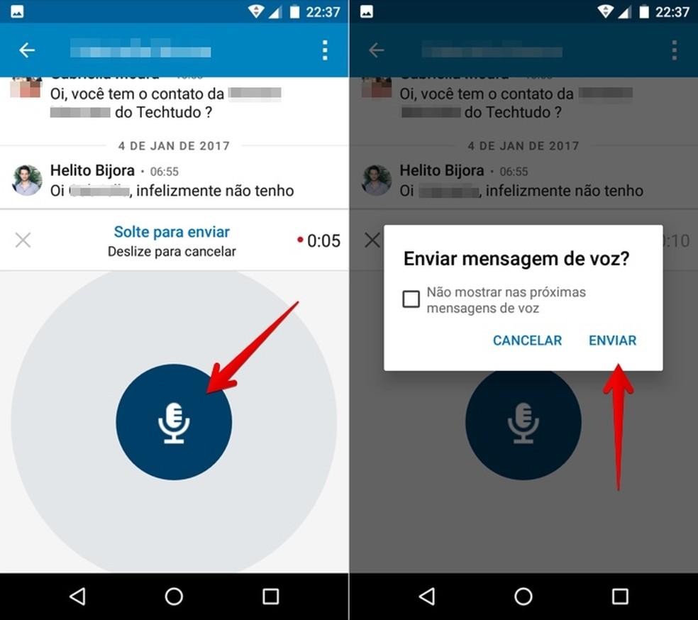 Recording and sending a voice message Photo: Reproduo / Helito Bijora