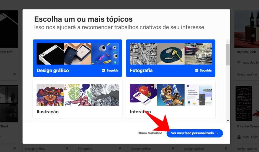 Selecting work styles to finalize Behance registration Photo: Reproduo / Rodrigo Fernandes
