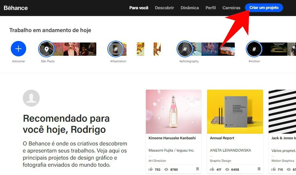 Create a new project on Behance Photo: Reproduo / Rodrigo Fernandes