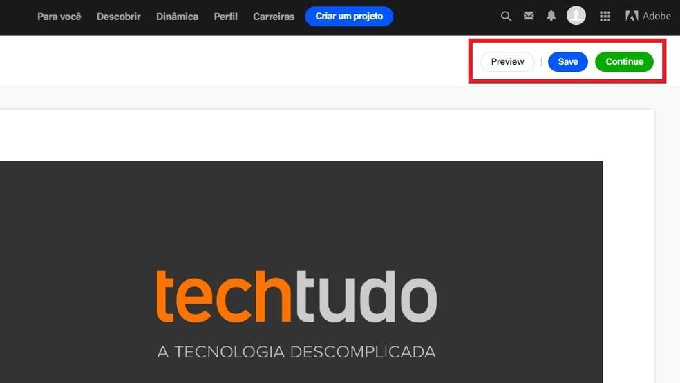 Menu allows you to preview how the portfolio project looks on Behance Photo: Reproduo / Rodrigo Fernandes