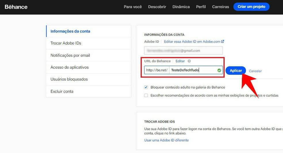 Create a custom URL for your Behance portfolio Photo: Reproduo / Rodrigo Fernandes