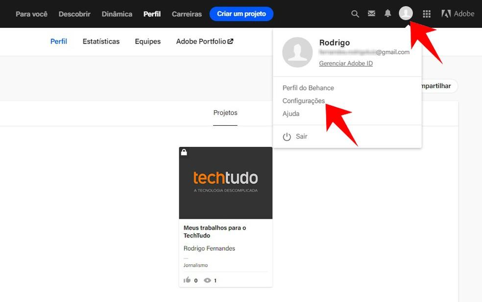 Access the Behance settings to create a custom URL Photo: Reproduo / Rodrigo Fernandes