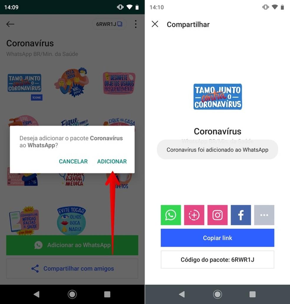 Installing stickers on WhatsApp Photo: Reproduo / Helito Beggiora