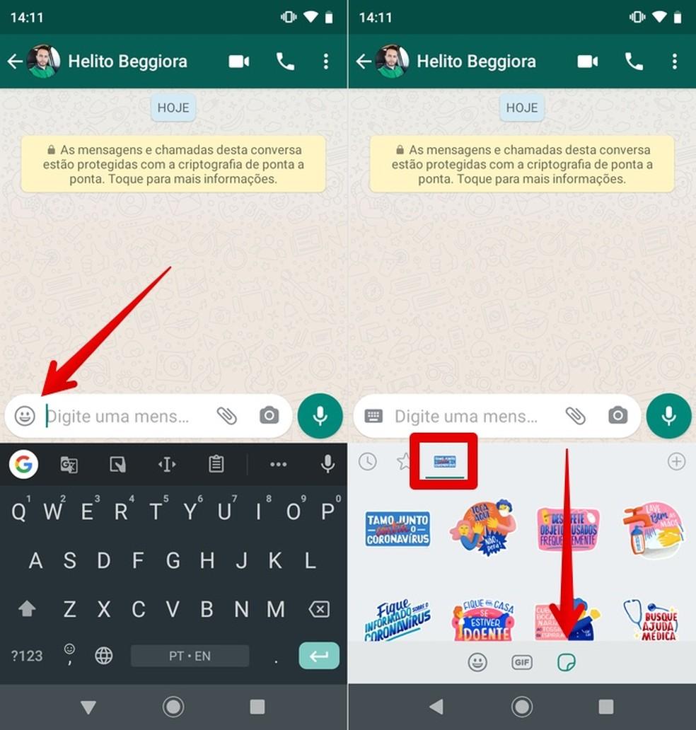 Sending Coronavrus stickers on WhatsApp Photo: Reproduo / Helito Beggiora
