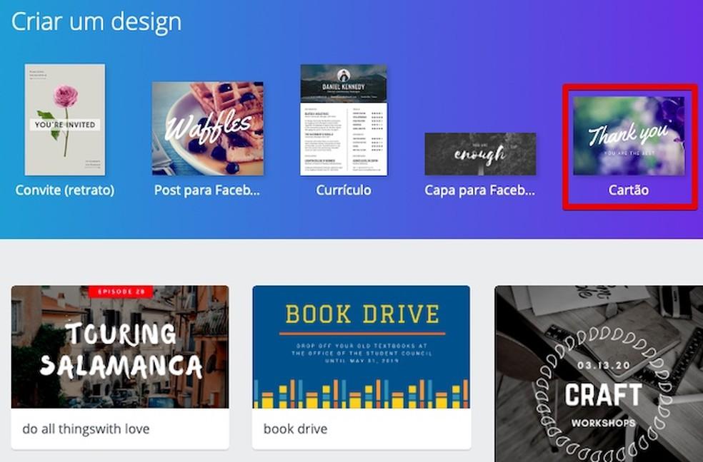 Open the card design templates Photo: Reproduo / Helito Bijora