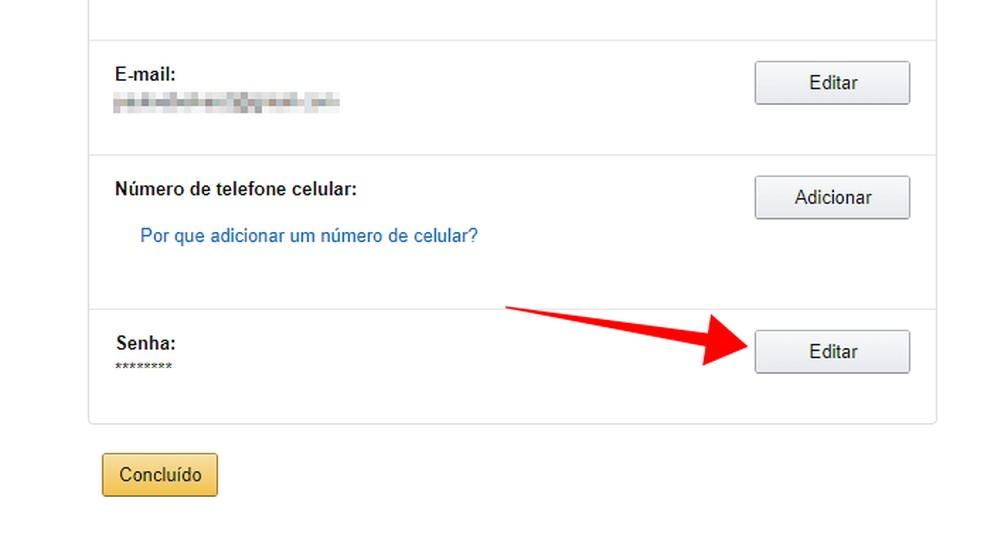 Edit the password on the Amazon website Photo: Reproduo / Paulo Alves