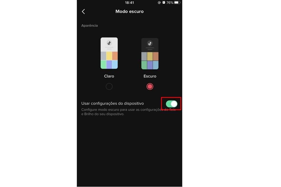 TikTok allows you to activate the dark mode automatically, according to the theme of the system Photo: Reproduo / Rodrigo Fernandes