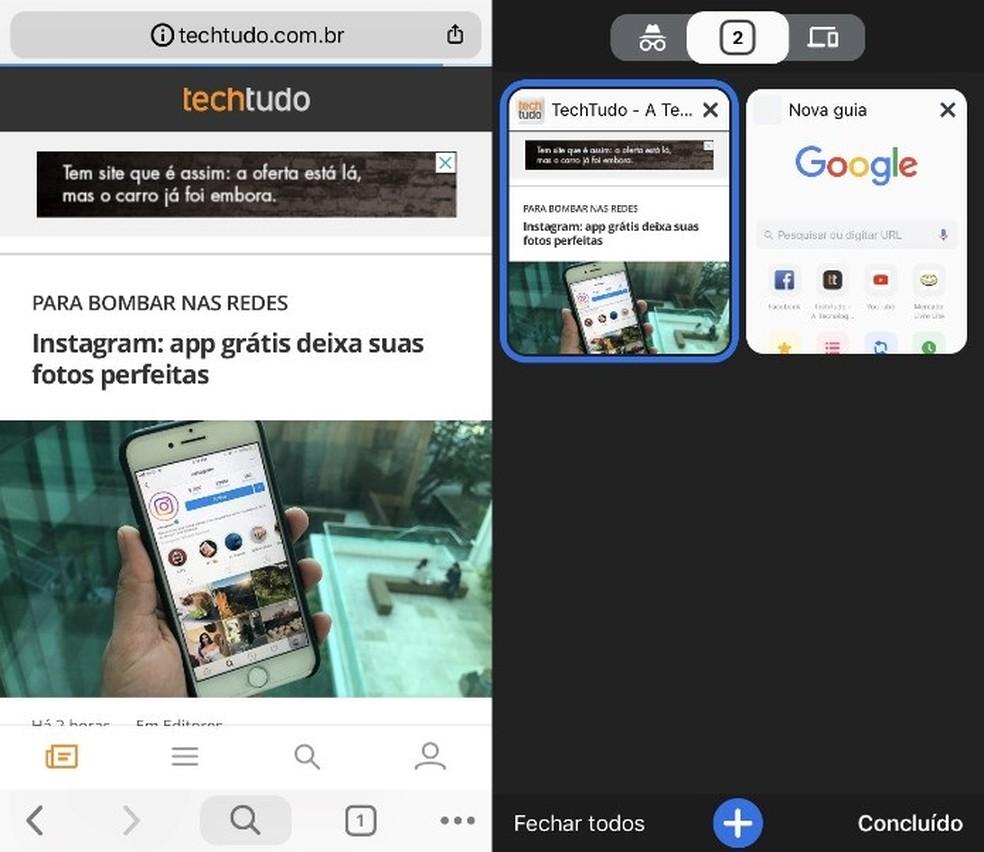 New look for Chrome on your phone Photo: Reproduo / Helito Bijora