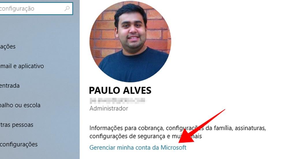 Manage your Microsoft account Photo: Reproduo / Paulo Alves