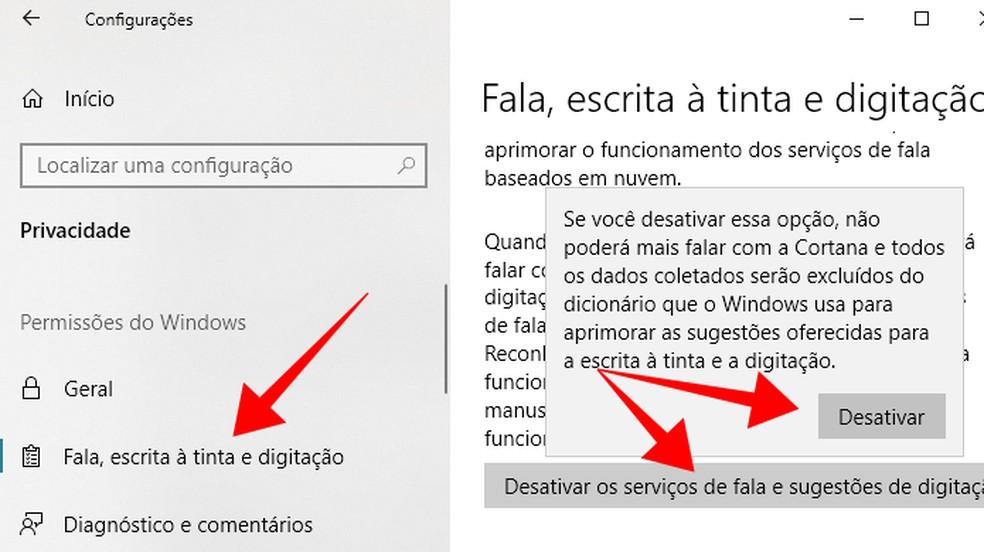 Disable Cortana's audio collection on your computer Photo: Reproduo / Paulo Alves