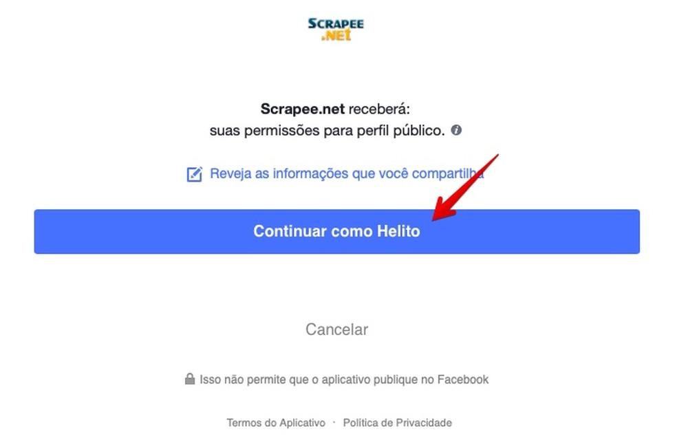 Allow the site to access your public profile Photo: Reproduo / Helito Bijora