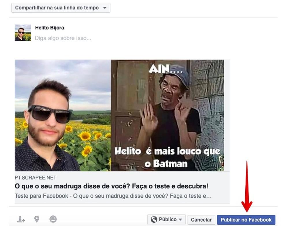 Sharing test result on Facebook Photo: Reproduo / Helito Bijora