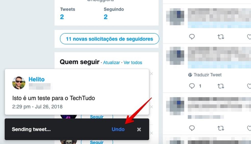 Click on the button indicated to undo the sending of the edited tute Photo: Reproduo / Helito Bijora