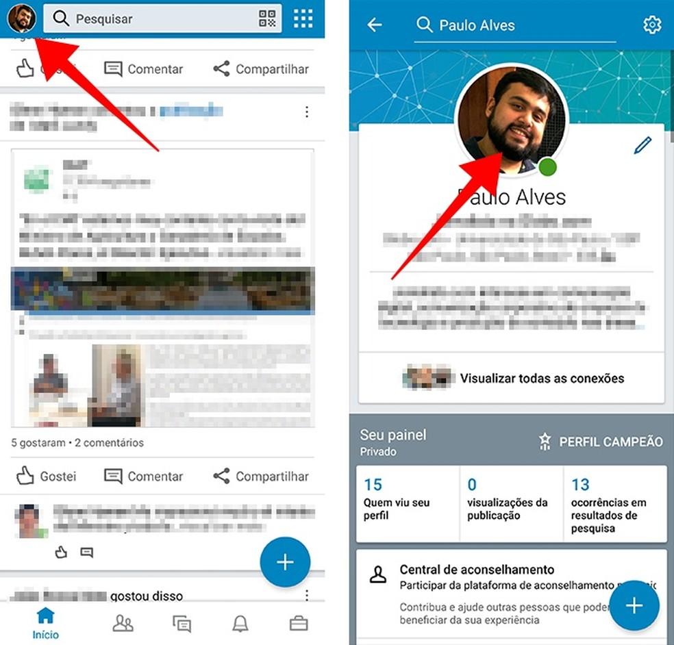 Open the profile photo editor on LinkedIn Photo: Reproduo / Paulo Alves