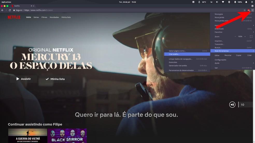 """Open the Chrome menu and navigate to """"Create shortcut"""" Photo: Reproduo / Filipe Garrett"""