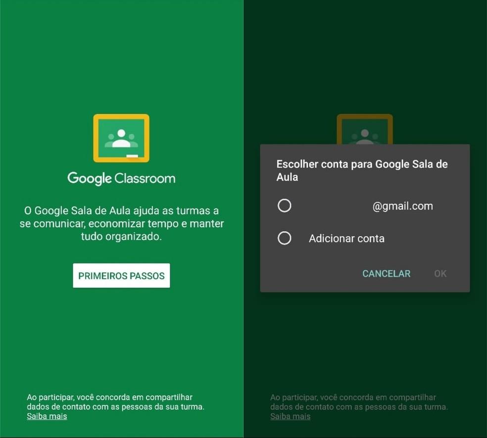 Add a Gmail account to start a Google Classroom session Photo: Reproduo / Clara Fabro