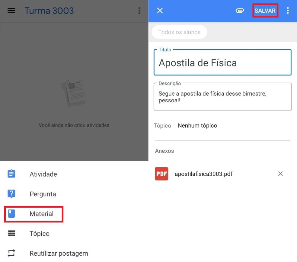 Add materials with PDF attachments in Google Classroom Photo: Reproduo / Clara Fabro