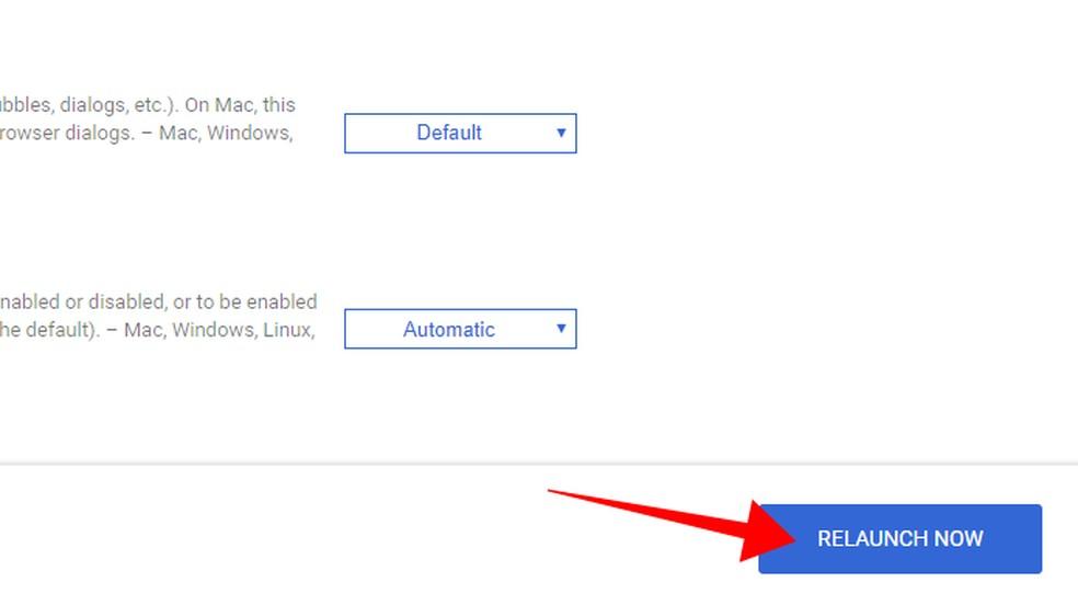 Restart Chrome to apply the change Photo: Reproduo / Paulo Alves