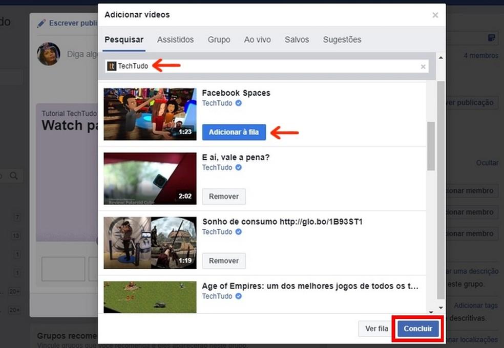 Adding videos to the Facebook Watch Party queue Photo: Reproduo / Raquel Freire