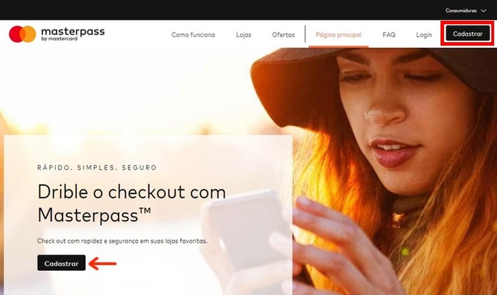 Masterpass digital wallet website homepage Photo: Reproduo / Raquel Freire