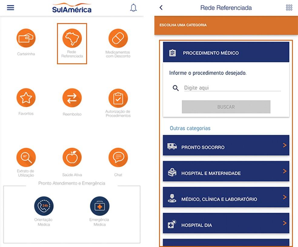 Access the referenced network button of the SulAmrica Sade app Photo: Reproduo / Barbara Mannara