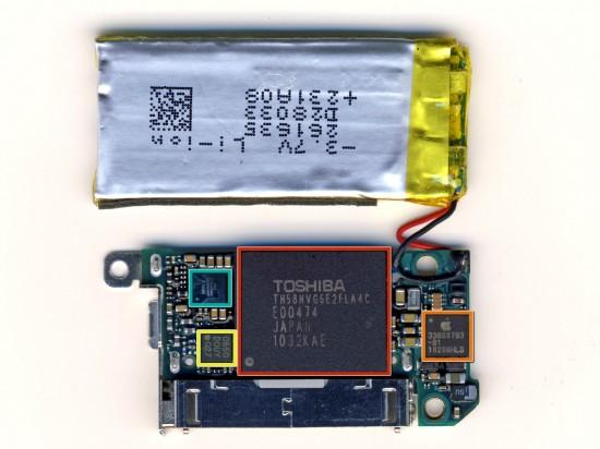 IPod nano 6G chips and battery; iFixit