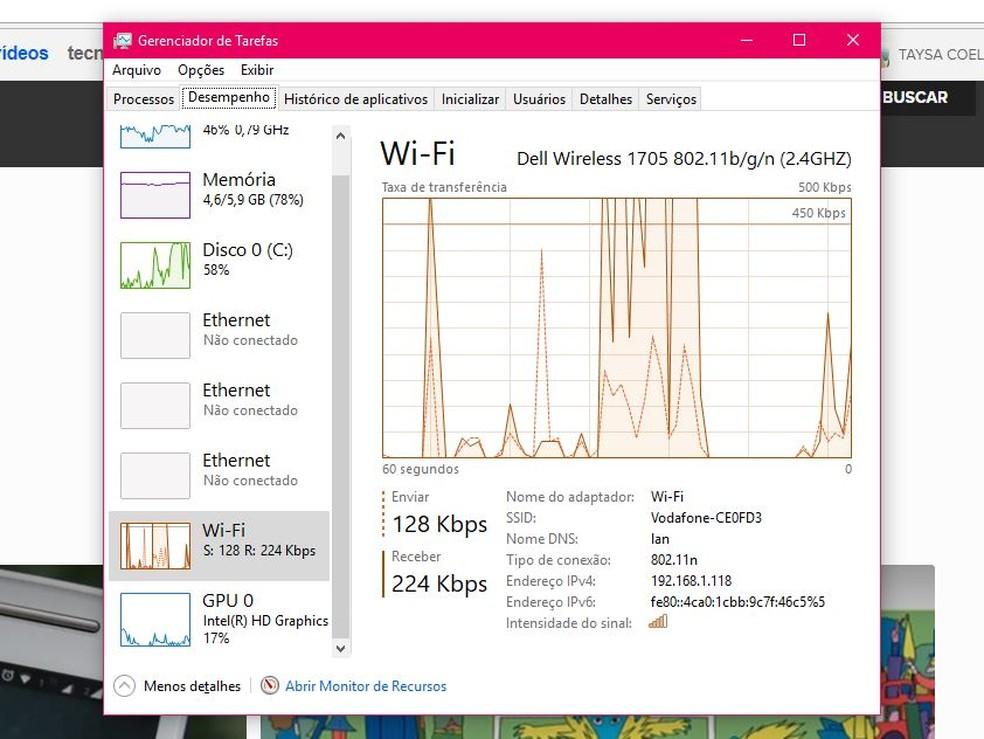 "Click on Wi-Fi in the ""Performance"" tab in Windows Photo: Reproduo / Taysa Coelho"