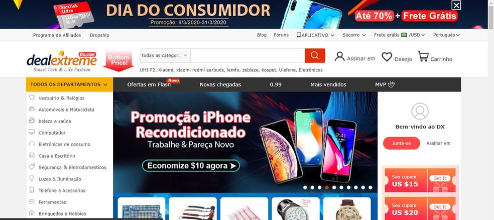 DealExtreme website home Photo: Reproduo / Guilherme Ramos