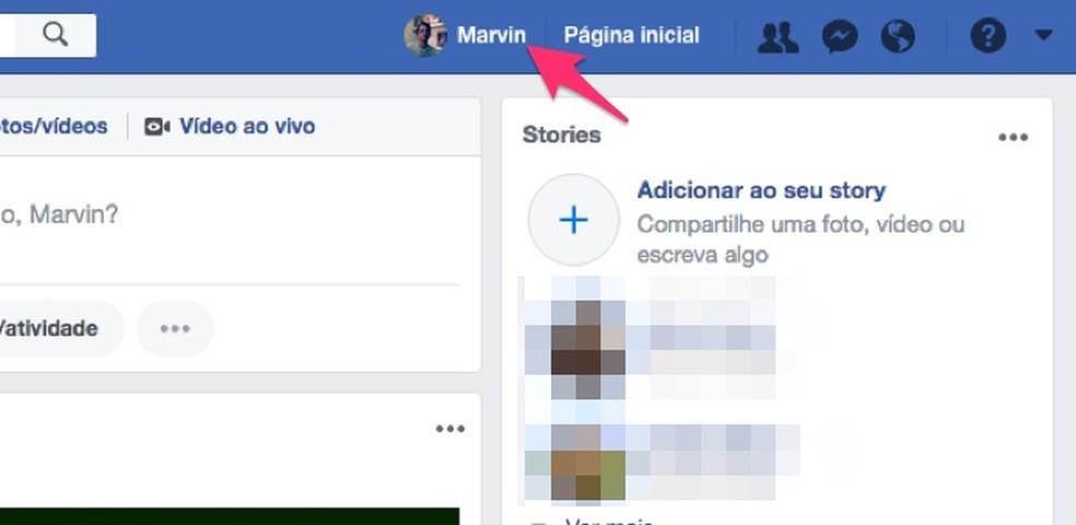 Way to access Facebook user profile Photo: Reproduo / Marvin Costa
