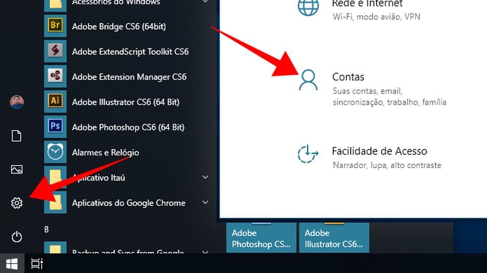 Access the Windows 10 account settings Photo: Reproduo / Paulo Alves