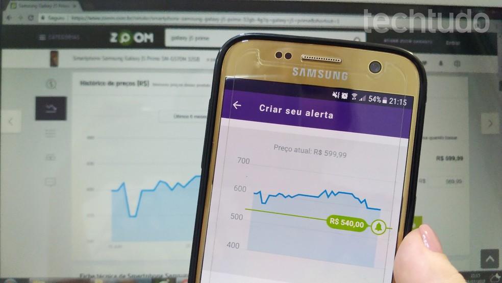 Apps have the option of sending alerts when the product has a price drop Photo: Caroline Parreiras / TechTudo