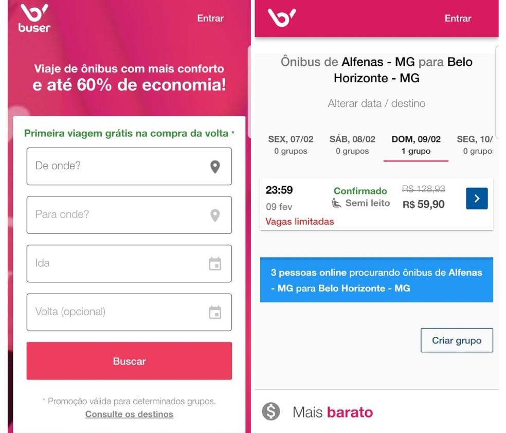 Buser allows you to buy bus tickets to So Paulo, Rio de Janeiro, Belo Horizonte and more Photo: Reproduo / Emanuel Reis