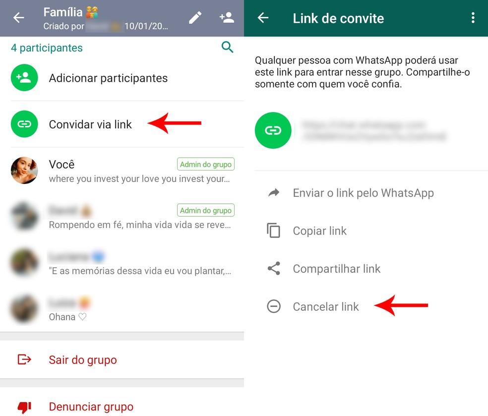 Procedure to cancel a group invitation link on WhatsApp Photo: Reproduo / Ana Letcia Loubak