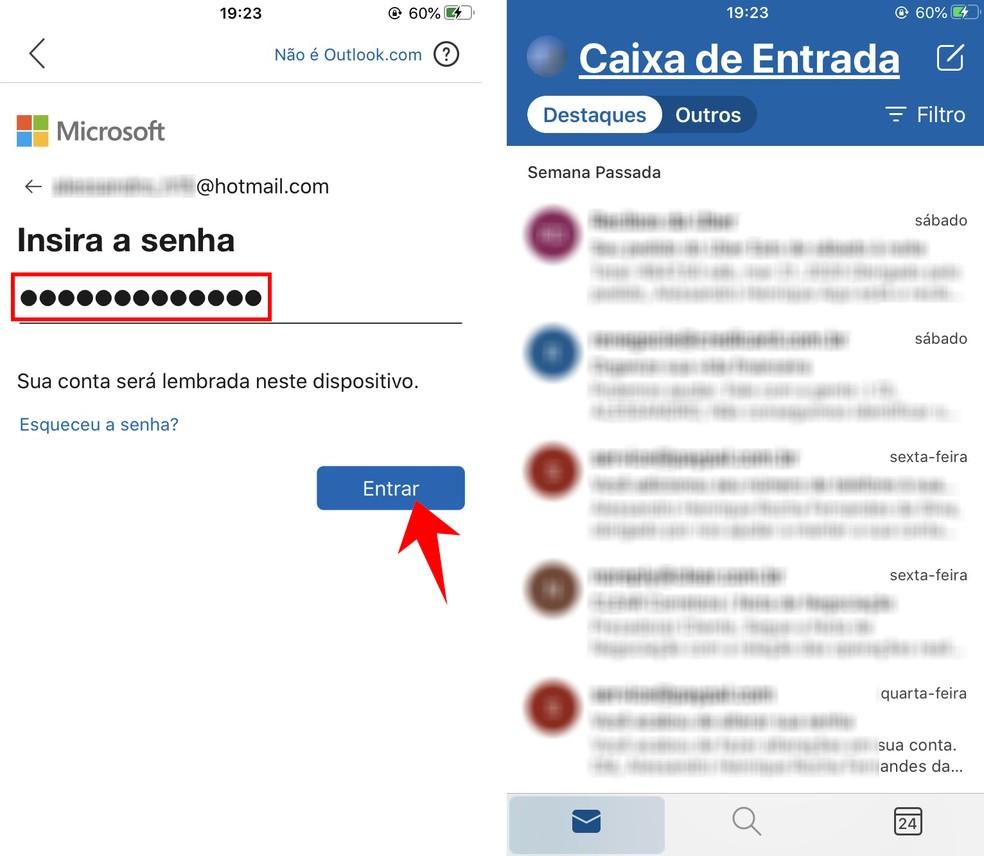 Accessing Hotmail through the Outlook app Photo: Reproduo / Rodrigo Fernandes