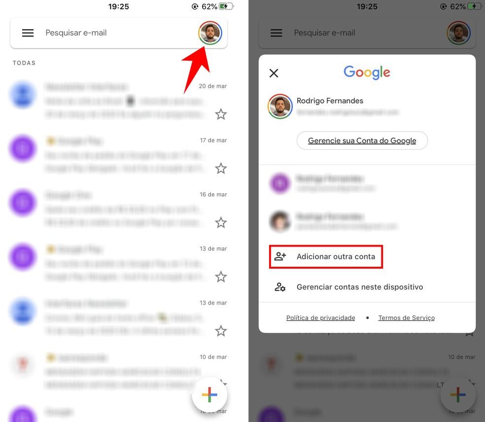 Adding a new email account to the Gmail app Photo: Reproduo / Rodrigo Fernandes